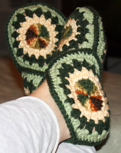 4 hexagons for each bootie made from worsted yarn