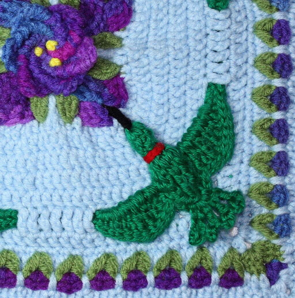 Hummingbird garden party 12 crochet square chelseacraft new square finished 3 bankloansurffo Image collections
